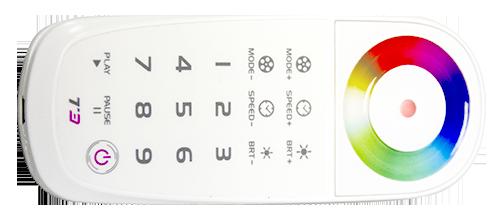 Control remoto con rueda de colores