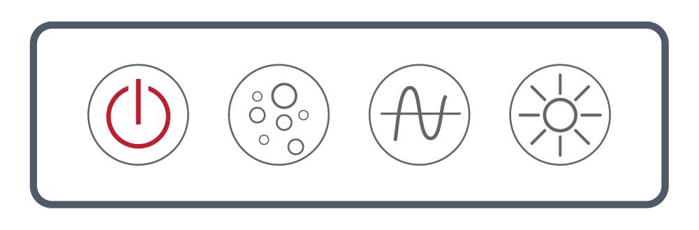 <b> NEXXUS™</b><br> Touch Series: Four Button <br> (Power, Blower, Wave/ Pulse, Light)