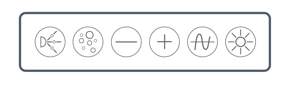 <b> NEXXUS™</b><br> Touch Series: Six Button <br> (Pump, Blower, Minus, Plus, Wave/ Pulse, & Light)