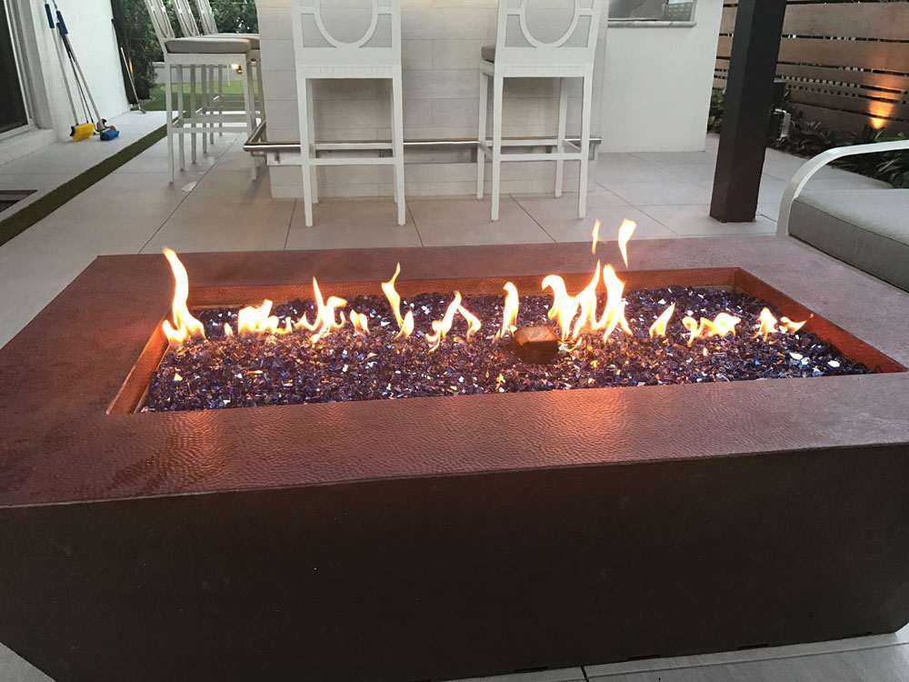 hammered copper fire table