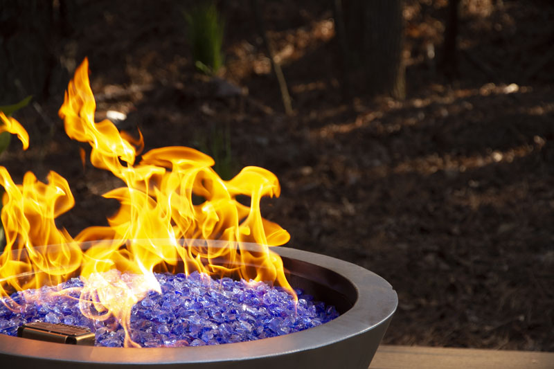fire in pot with glass